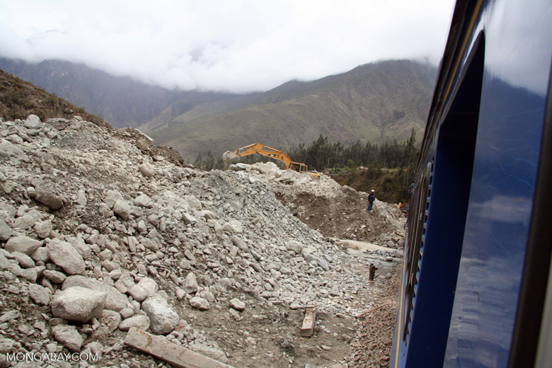 Site of mudslide that covered the train  tracks to Machu Picchu