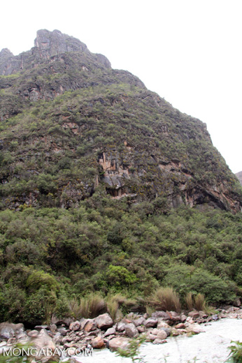 Urubamba river valley; high rock faces