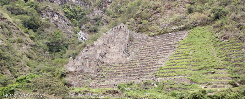 Inca ruins and terraces on the way to Machu Picchu