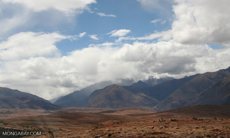 Snow-capped mountains in the Andes