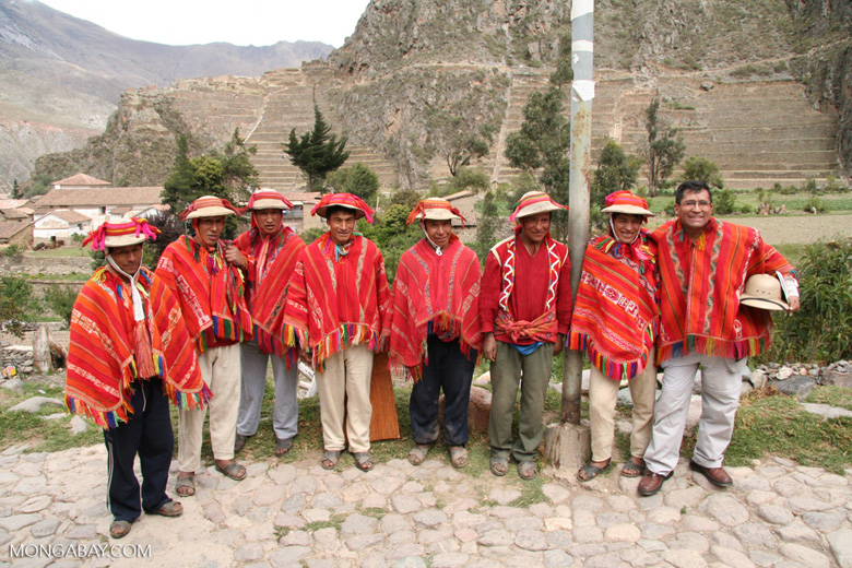 Willoq men in Ollantaytambo wearing traditional red clothing