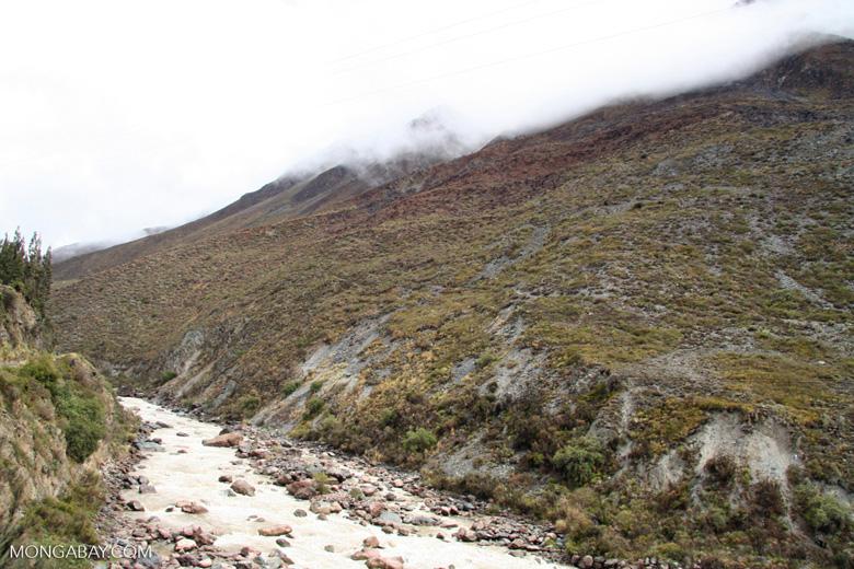Site of large mudslide that blocked tracks to Machu Picchu