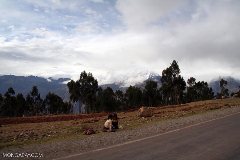 Children along roadside between Cuzco and the Urubamba vallet
