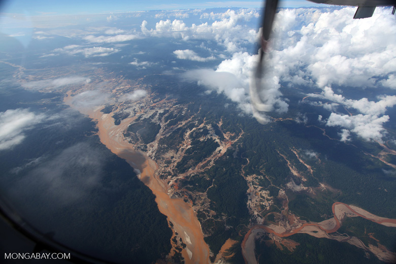 Aerial view of the Río Huaypetue gold mine the Peruvian Amazon