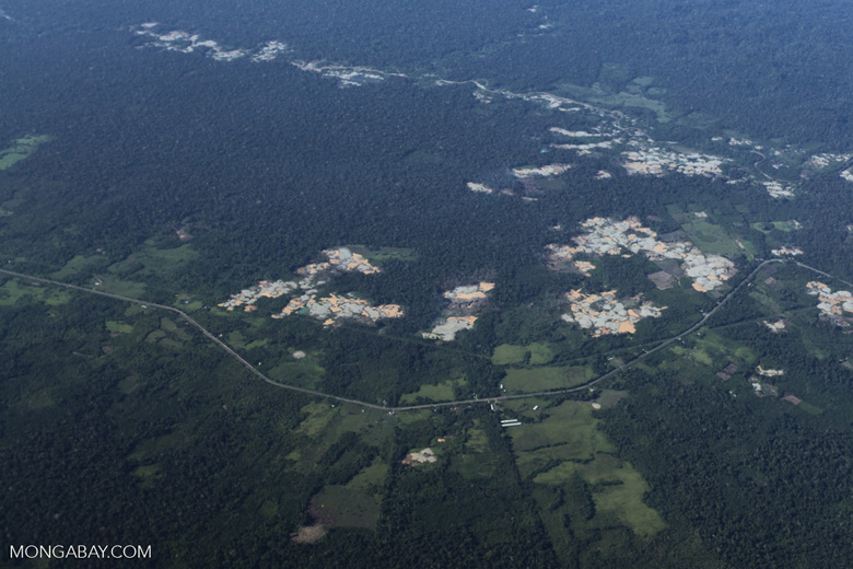 Deforestation and gold mines near the Transoceanic highway