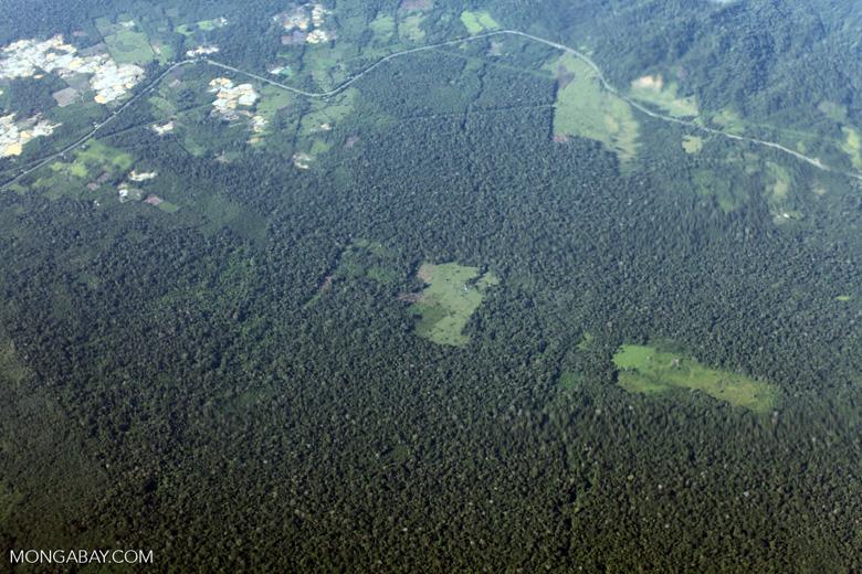Mosaic deforestation near the Transoceanic highway in Peru