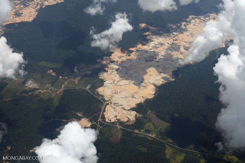 Massive open pit gold mine in the Amazon