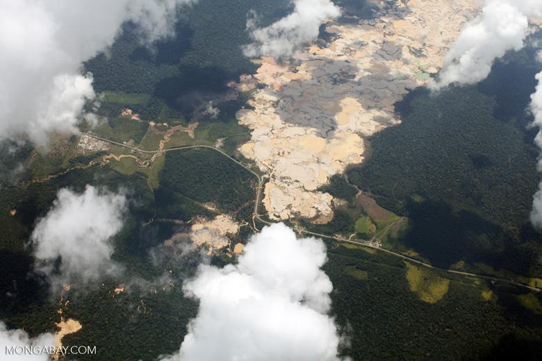 Massive open pit gold mine in the Peru's Madre de Dios department