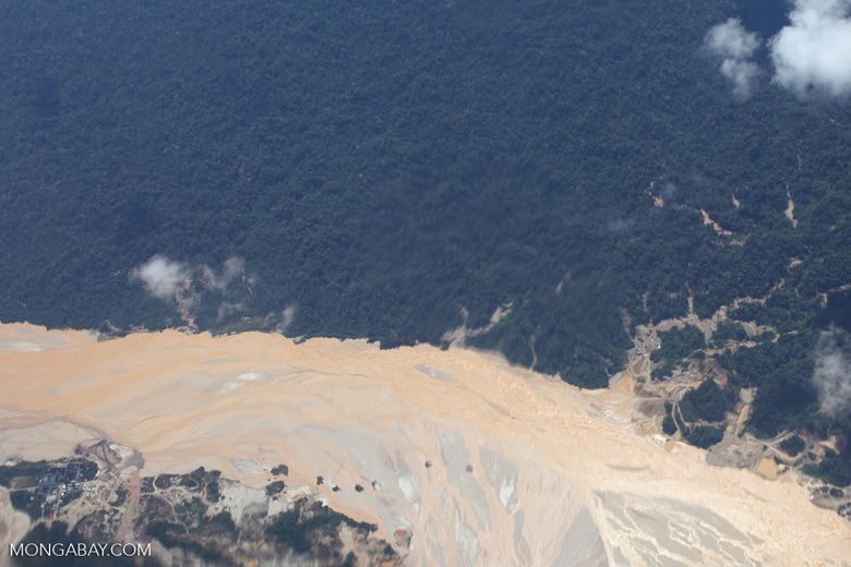 Aerial photograph of gold mining damage in Peru's Amazon rainforest