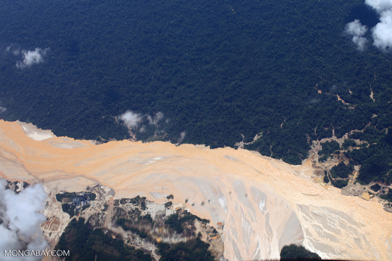 Aerial image of gold mining damage in the Amazon rainforest
