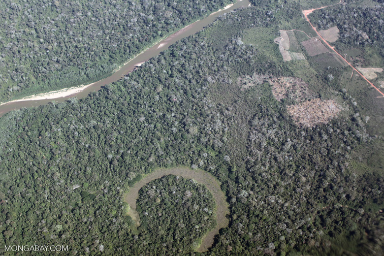 River, oxbow lake, and deforestation in the Peruvian Amazon