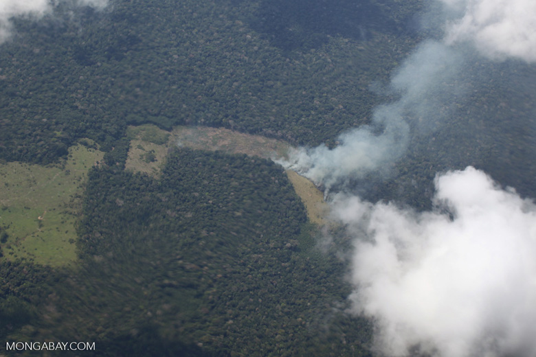 Amazon fire as seen from above