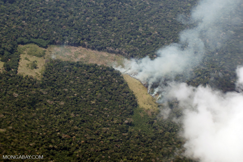 Amazon fire as seen from an aircraft