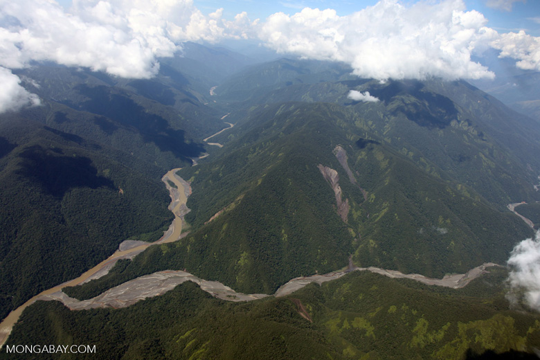 River valley on the Amazon side of the lower Andes [peru_aerial_1700]