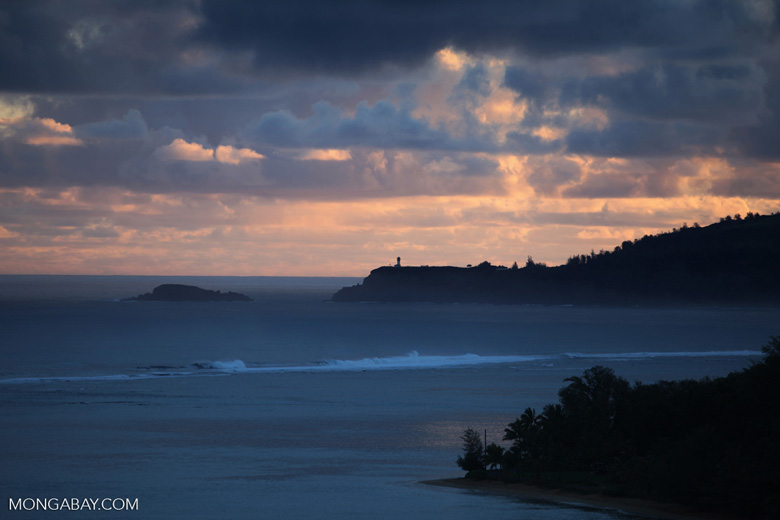 Lighthouse near Princeville, Kauai at sunrise