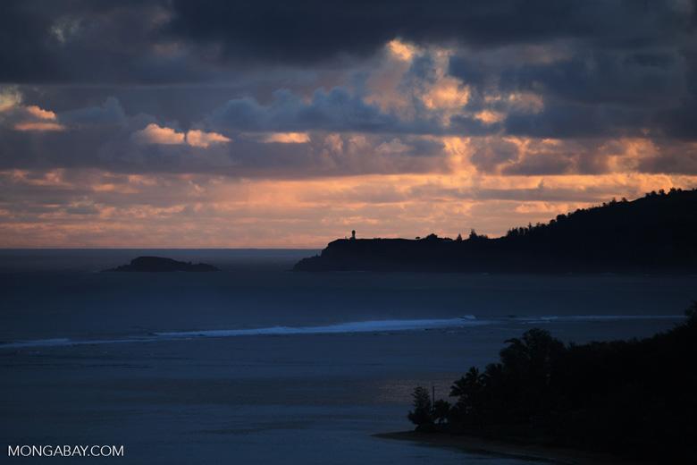 Lighthouse near Princeville, Kauai at sunrise
