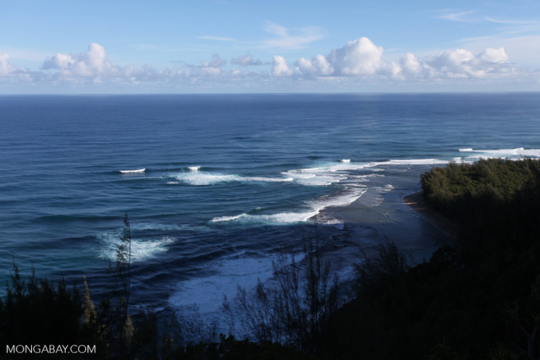 Ke'e Beach as seen from the Kalalau Trail