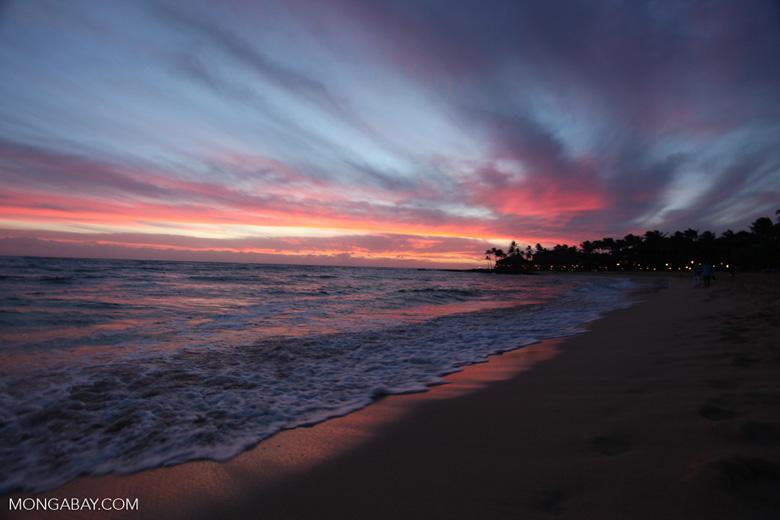 Poipu beach at sunset