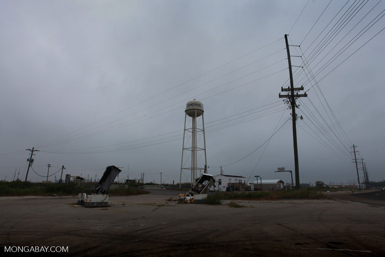 Leveled fuel tanks at a gas station in Cameron, Louisiana