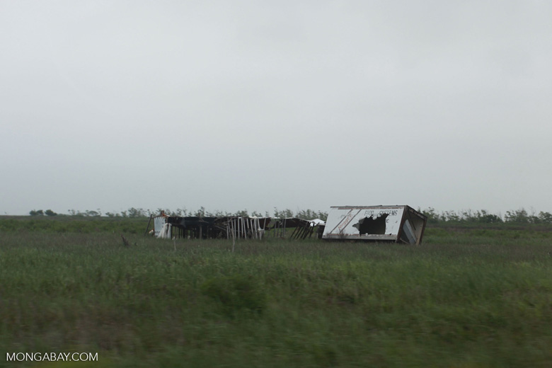 Hurricane damage near Cameron, Louisiana