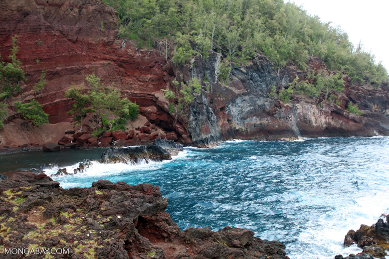 Volcanic red sand beach near Hana