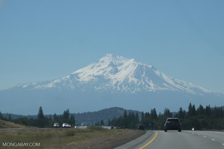 Mt Shasta seen from a distance