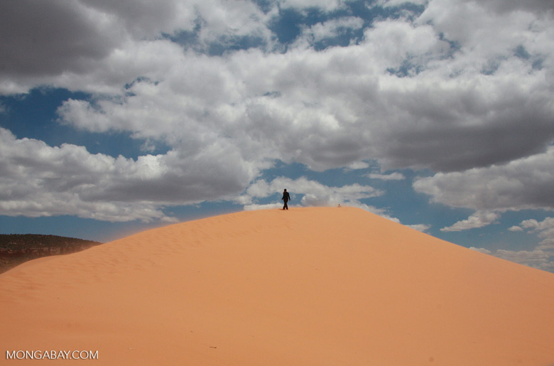 Woman walking on a sand dune in Coral Pink Sand Dunes State Park