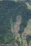 Aerial view of deforestation on mountainous terrain in Costa Rica