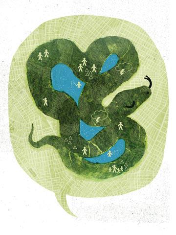 La 'madre' de los animales como una boa constrictora protegiendo los lagos encantados. La boa es una figura clave en el mito del génesis de la gente kukama – la boa dio luz a la primera persona kukama. Arte original por Prabha Mallya.