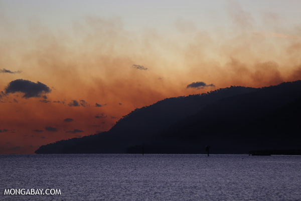 Haze from a forest fire at sunset [australia_fnq_0550]
