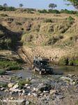 Truck crossing a river in Africa