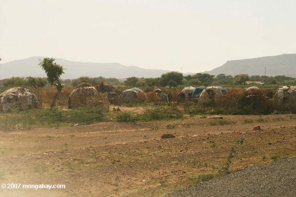 Turkana village outside Kakuma-here the Turkana use trash as a building material