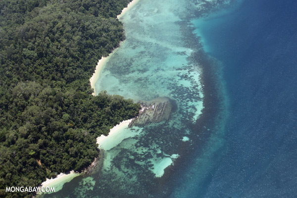 Airplane view of rainforest and coastal reefs in Borneo [sabah_malaysia_0003]