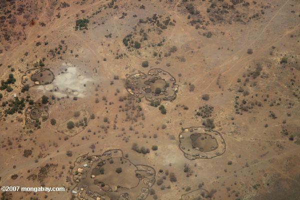 Aerial view of Maasai villages