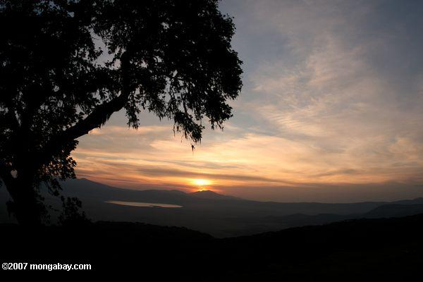 Sunset over the Ngorongoro Crater