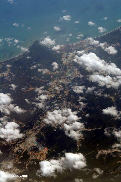 Aerial view of small-scale mining in coastal Java (Java)