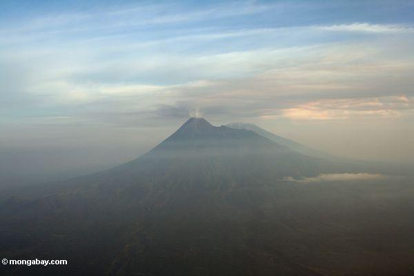 Eruption of volcano at Bromo Tengger Semeru National Park (Java)