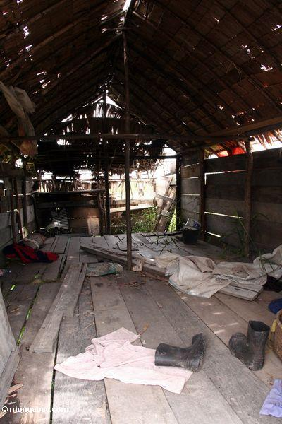 Inside of an abandoned cabin outside Tanjung Puting National Park (Kalimantan, Borneo - Indonesian Borneo)