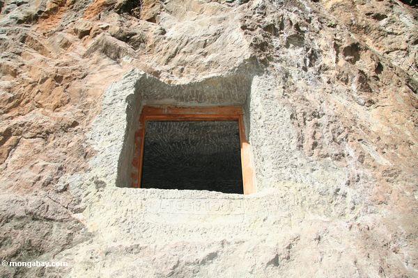 Stone tomb in a rock wall at Lemo (Toraja Land (Torajaland), Sulawesi)