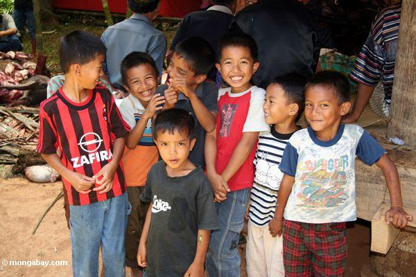 Kids at funeral in Toraja land (Toraja Land (Torajaland), Sulawesi)
