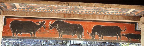 Water buffalo mural at Palawa (Toraja Land (Torajaland), Sulawesi)