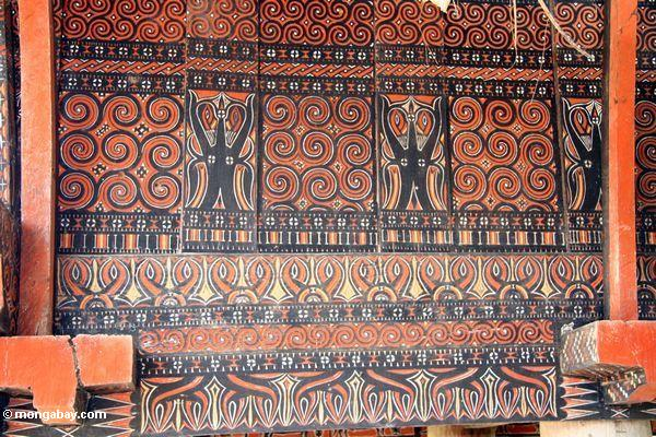 Traditional painting on the side of a home in Palawa (Toraja Land (Torajaland), Sulawesi)