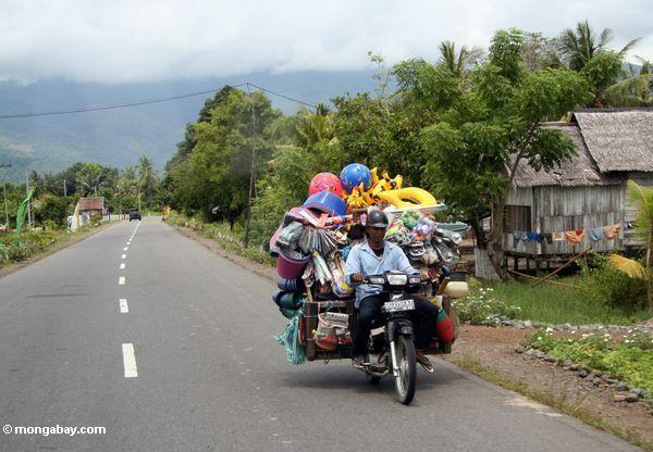 Vendor carrying all of his wares on the back of his motorbike (Sulawesi - Celebes)