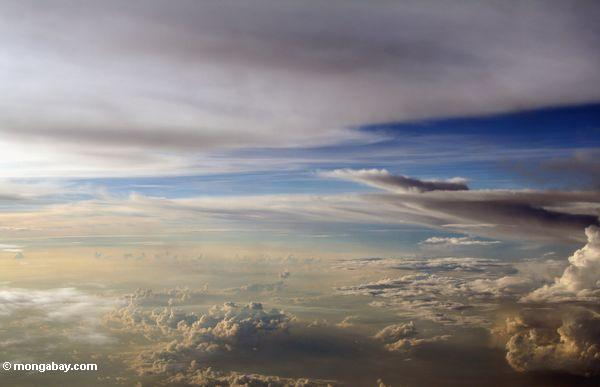 Plane view of clouds at sunset over the island of Sulawesi (Sulawesi - Celebes)