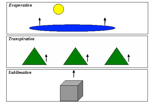 Evaporation, transpiration, and sublimation diagrams