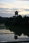 Tower at sunset near a Balinese rice field (Ubud, Bali)