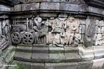 Wall carvings at Borobudur, wheeled-cart (Java)
