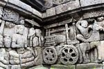 Wall carvings at Borobudur, wheeled-cart (Java) -- java5898