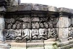 Wall carvings at Borobudur, people under tree (Java)