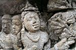Wall carvings at Borobudur, woman (Java)